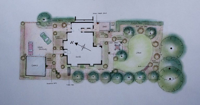 the design for the front garden - Garden Design Drawing