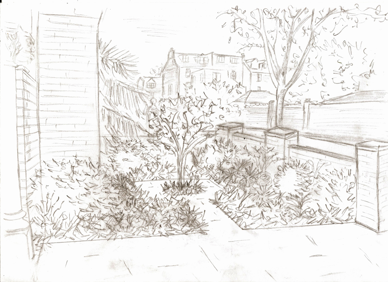 Concept sketch for front garden in Wandsworth