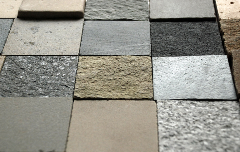 Samples of natural stone paving