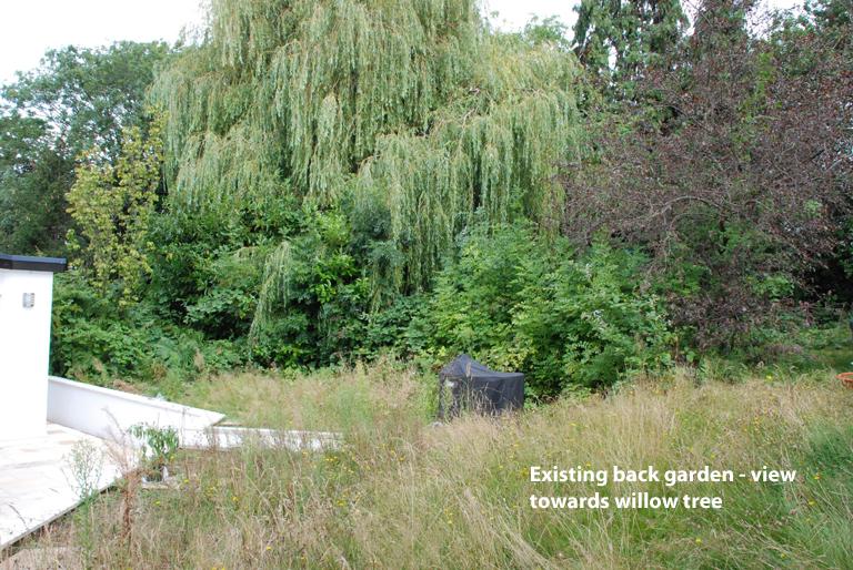 Existing Leatherhead garden - view towards willow tree