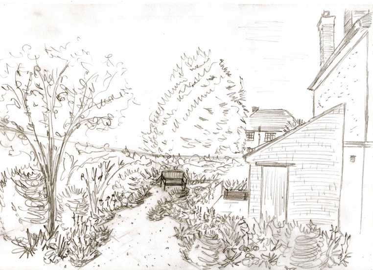 Proposed back garden - view of gravel garden Leatherhead design project