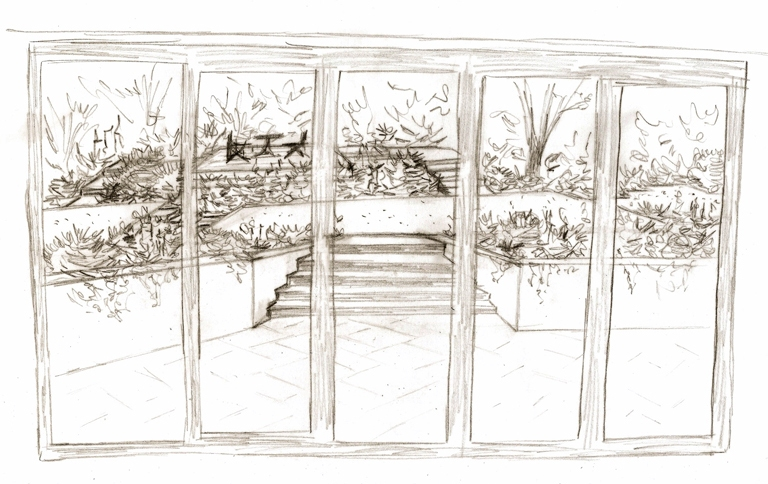 Proposed view from house - garden design project Leatherhead