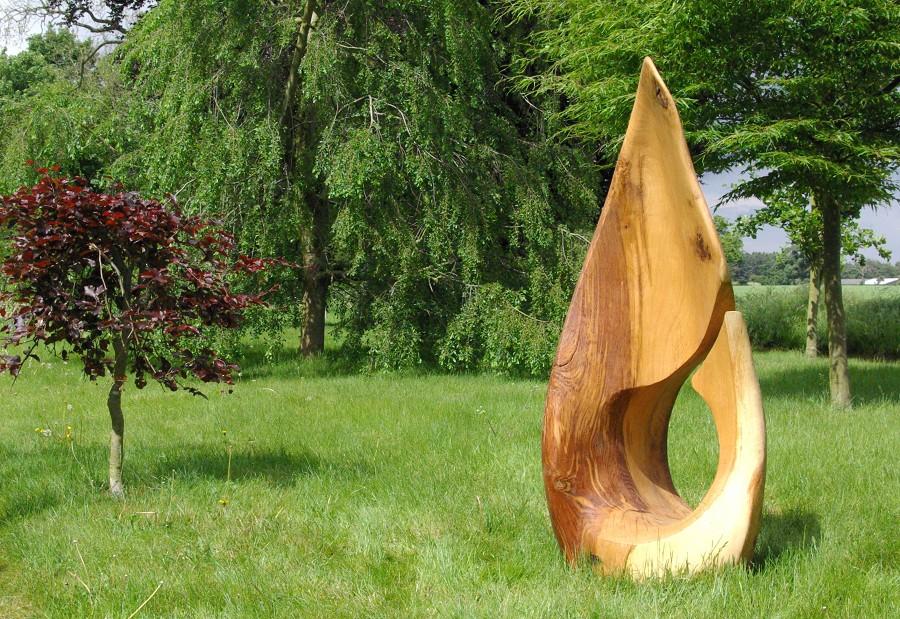Wooden garden sculpture by martin pigg lisa cox
