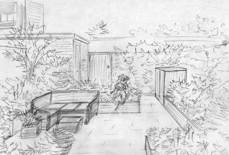 From the drawing board concept design and sketches for a for Garden sit out designs