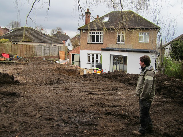 Garden under construction Leatherhead Lisa Cox Garden Design
