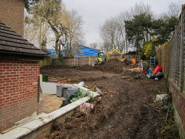 Leatherhead Garden under construction Lisa Cox Garden Designs
