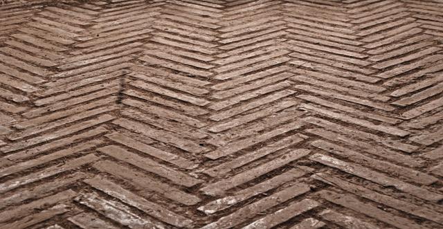 Brick paving in Roman Forum by Lisa Cox