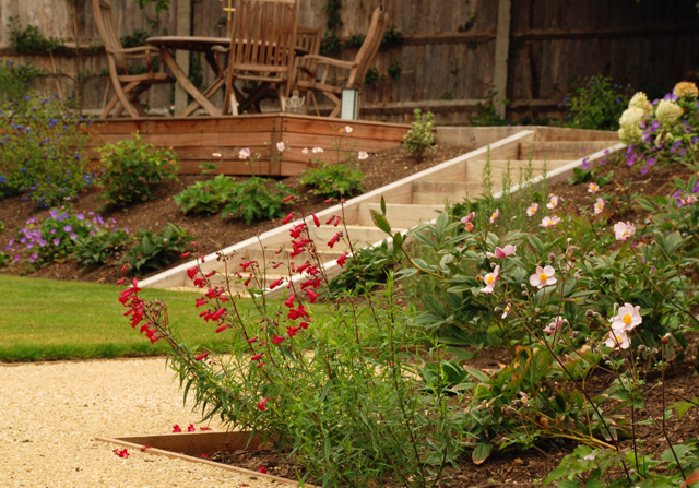 Formal steps to decking Leatherhead garden Lisa Cox Designs