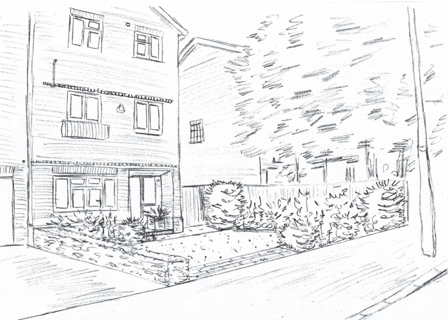 Concept sketch sutton front garden Lisa Cox Designs