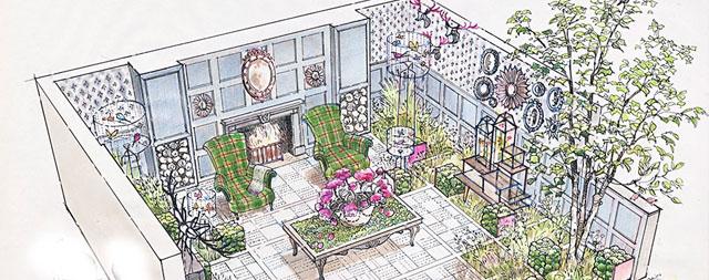 RHS Chelsea 204 Fresh garden for House of Fraser 'Fabric' by Chris Deakin & Jason Lock