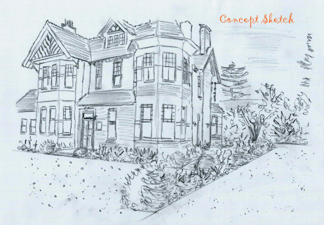 Concept sketch front garden The Dutch