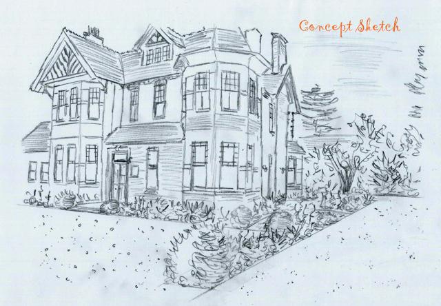 Concept sketch front garden The Dutch