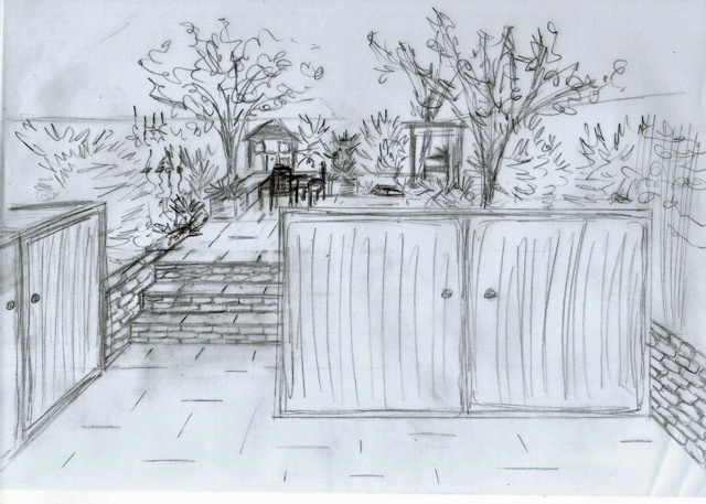 Concept Sketch back garden Reigate Lisa Cox Designs