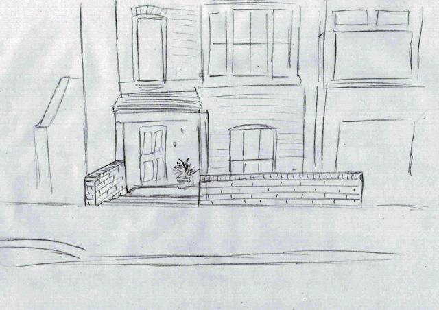 Concept sketch, front garden Reigate Lisa Cox