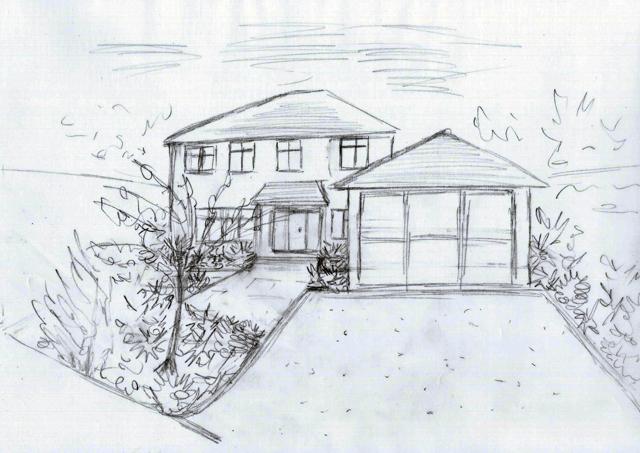 East Horsley front garden concept sketch Lisa Cox Garden Designs