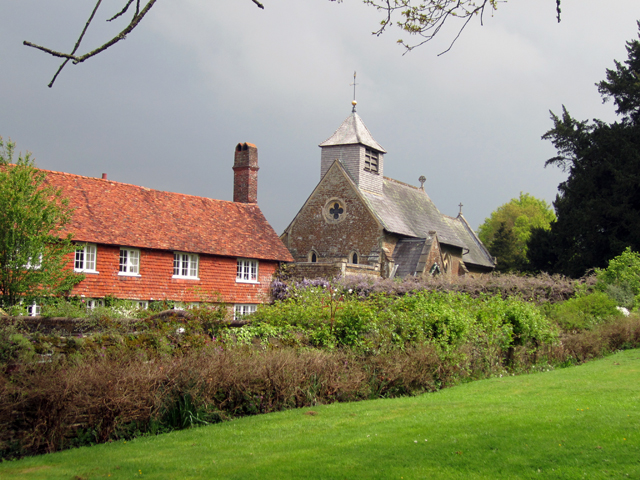 Surrey cottage and church Lisa Cox Garden Designs