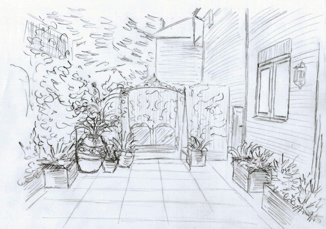 Bletchingley courtyard garden sketch Lisa Cox Designs
