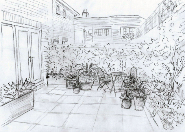Bletchingley courtyard sketch Lisa Cox Garden Designs