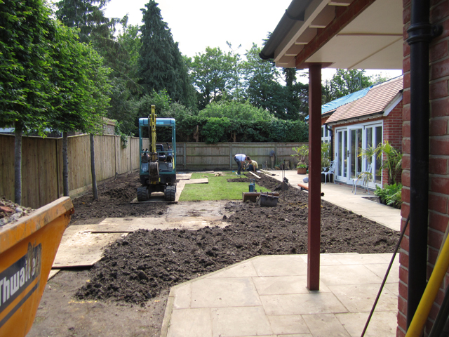 Back garden Woking during construction LIsa Cox Designs