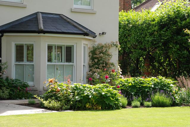 Oxshott front garden planting beds Lisa Cox Designs