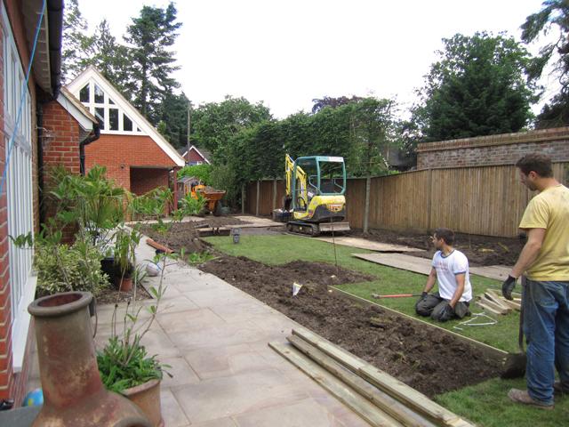 Woking garden during build Lisa Cox Designs