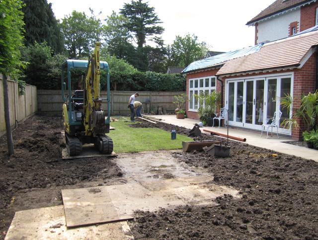 Woking garden week 2 of construction Lisa Cox Designs