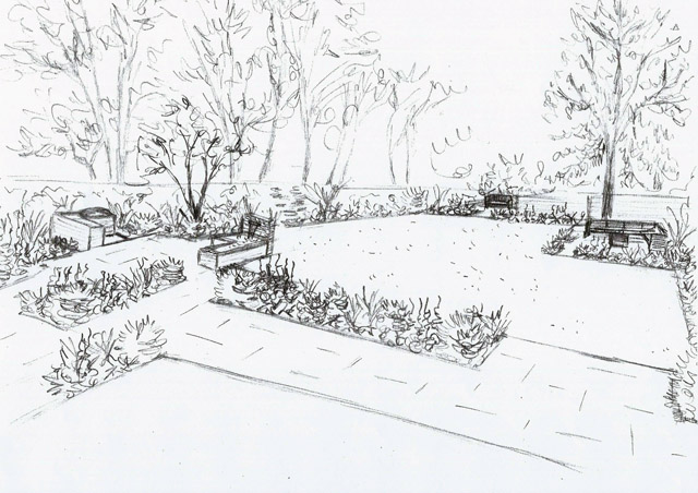 Concept Sketch Ashtead back garden Lisa Cox Designs