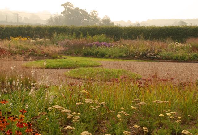 Grass mounds Hauser Wirth Somerset Lisa Cox Garden Designs