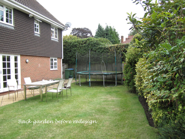 Back garden before redesign Weybridge Lisa Cox Designs