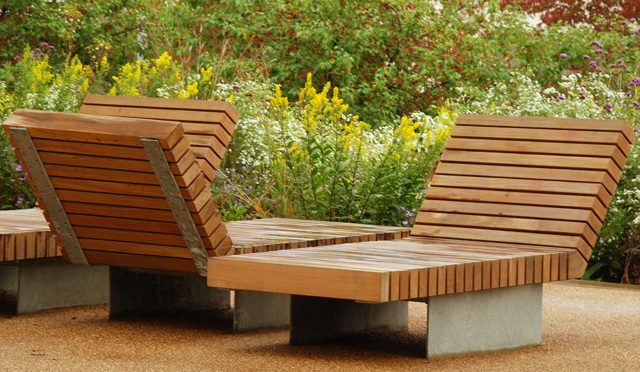Benches at the Olympic Park London Lisa Cox Garden Designs
