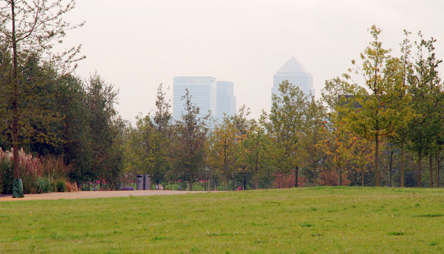 Canary Wharf from the Olympic Park Lisa Cox Garden Designs