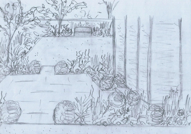 Concept sketch for garden in Weybridge Lisa Cox Designs