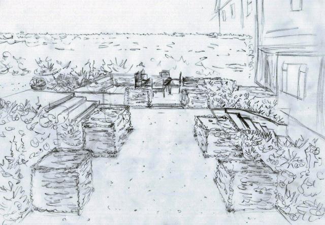 Concept design sketch Lisa Cox Garden Designs