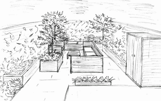 From the drawing board new garden for a client in for Garden design sketches