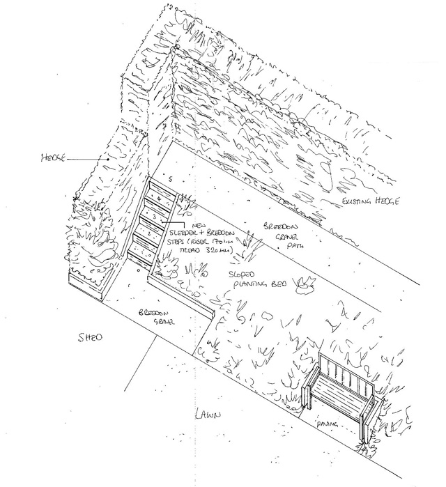 Isometric drawing of steps Lisa Cox Garden Designs