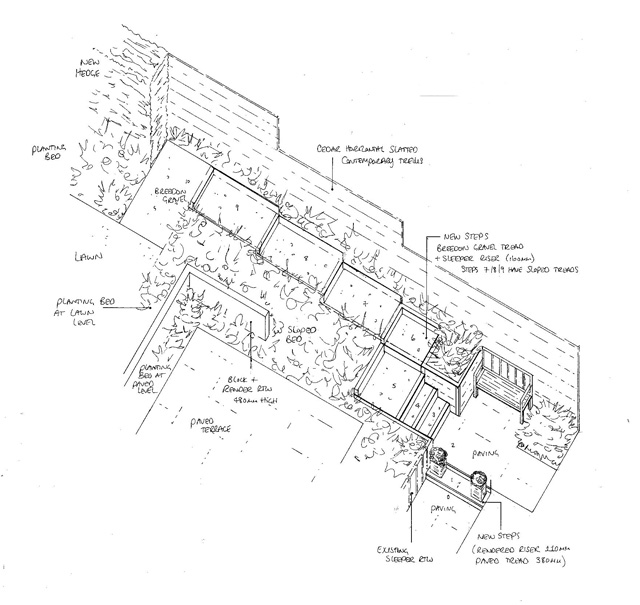 Isometric drawing of steps from utility room Lisa Cox Garden Designs