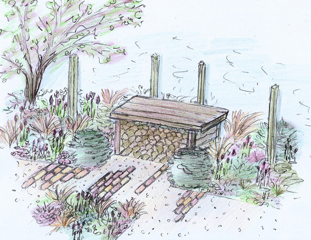 Colour sketch of bench RHS cardiff 2015 Lisa Cox Garden Designs