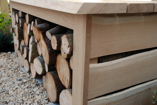 Oak bench with log store Lisa Cox Garden Designs RHS Cardiff 2015