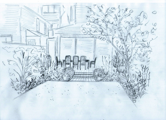 Concept sketch back gdn View Lisa Cox Garden Designs