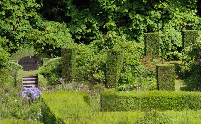 Yew columns at Veddw Garden Lisa Cox Designs