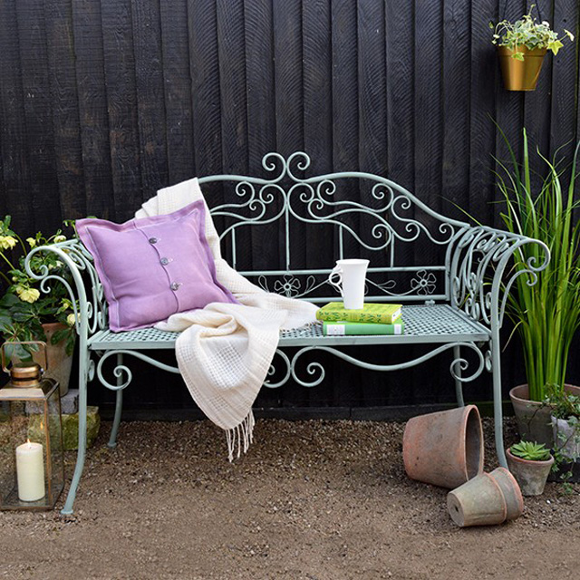 Ornate garden bench by Mia Fleur