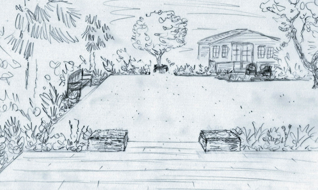 Concept sketch for garden in Elstree Lisa Cox Designs