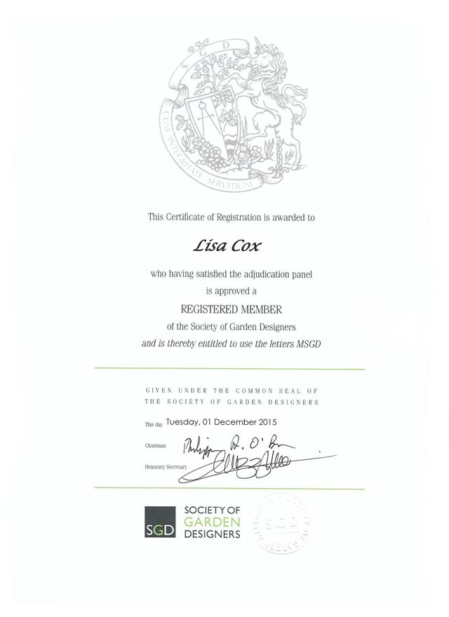 MSGD certificate Lisa Cox Garden Designs