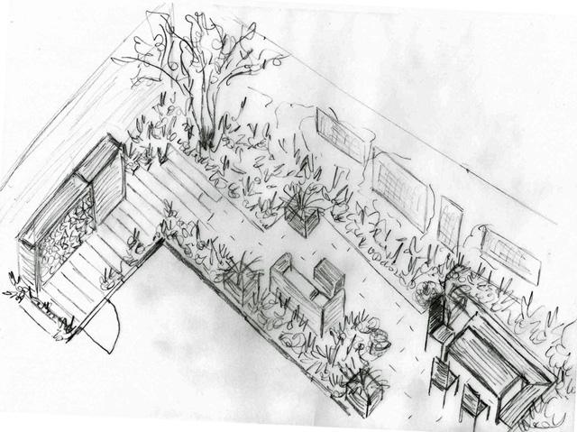 Axonometric sketch of back garden Monmouth Design Lisa Cox