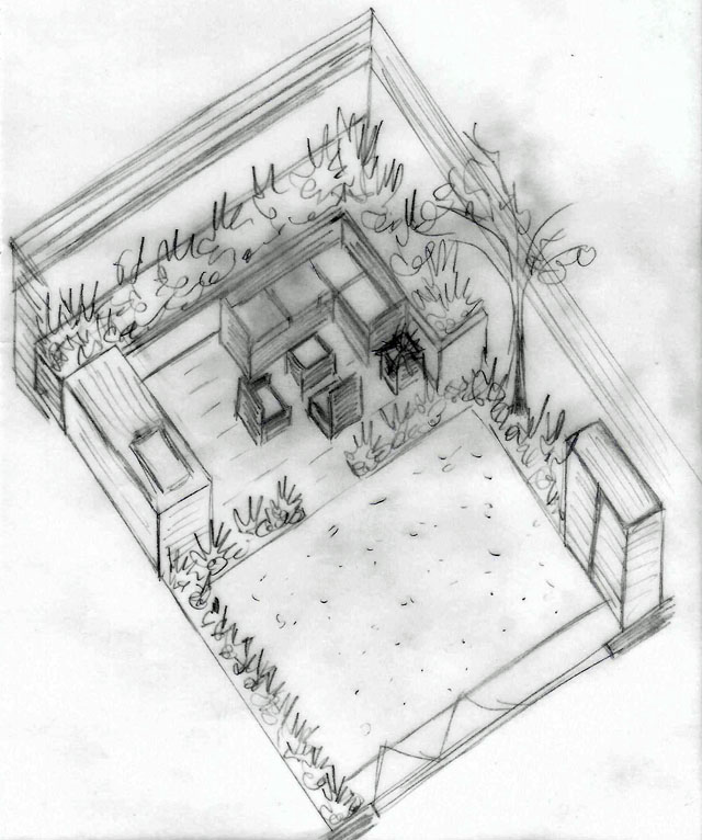 Axonometric sketch Hammersmith garden Lisa Cox Designs