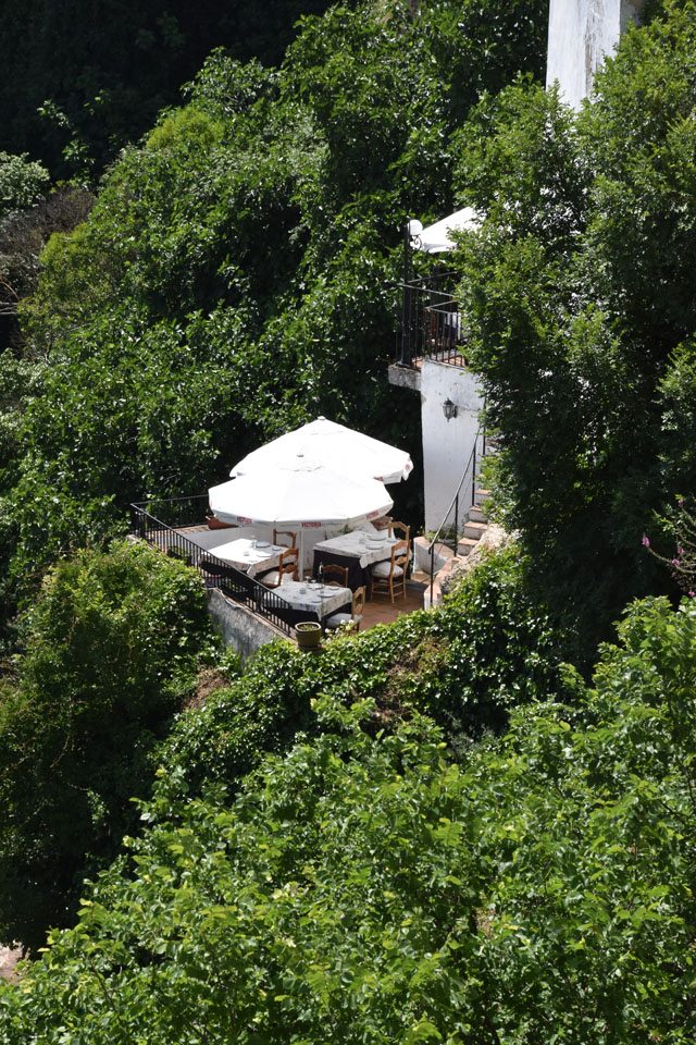 Ronda cafe overlooking the gorge Lisa Cox Garden Designs