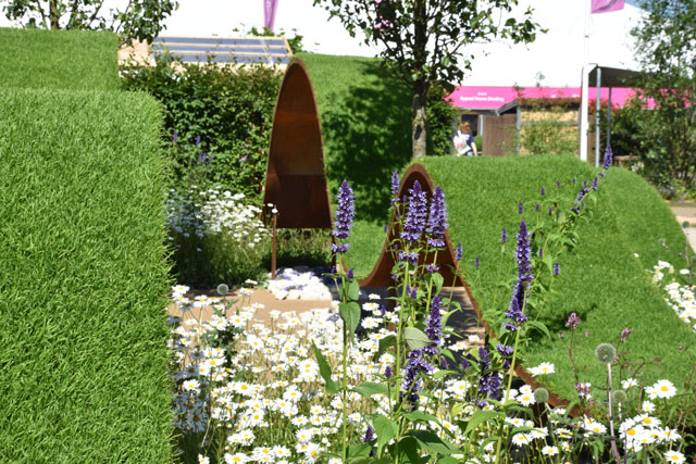 Floating waves of turf World Vision Garden RHS Hampton 2016 Lisa Cox