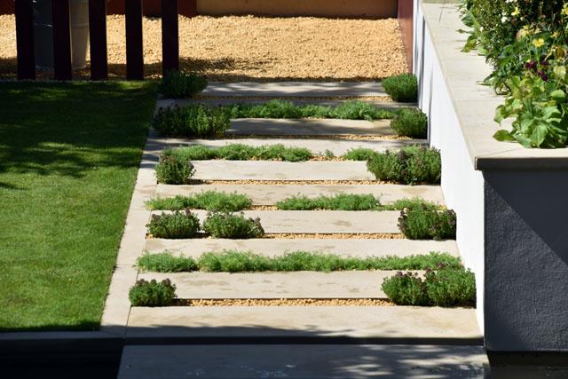 Paved pathway Squires Anniversary Garden RHS Hampton 2016 Lisa Cox
