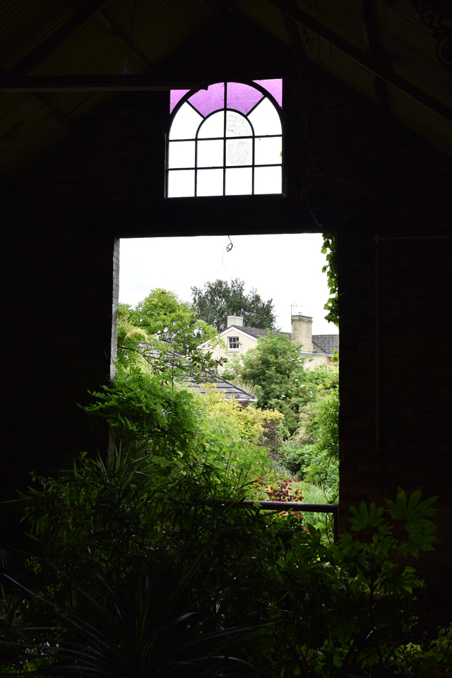 Looking out to gravel garden at Dewstow Lisa Cox