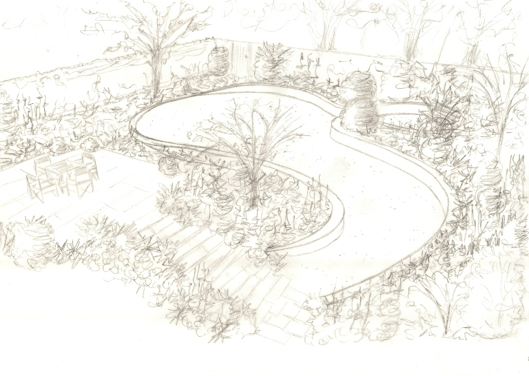Some initial concept sketches for a garden in woking for Garden design sketches
